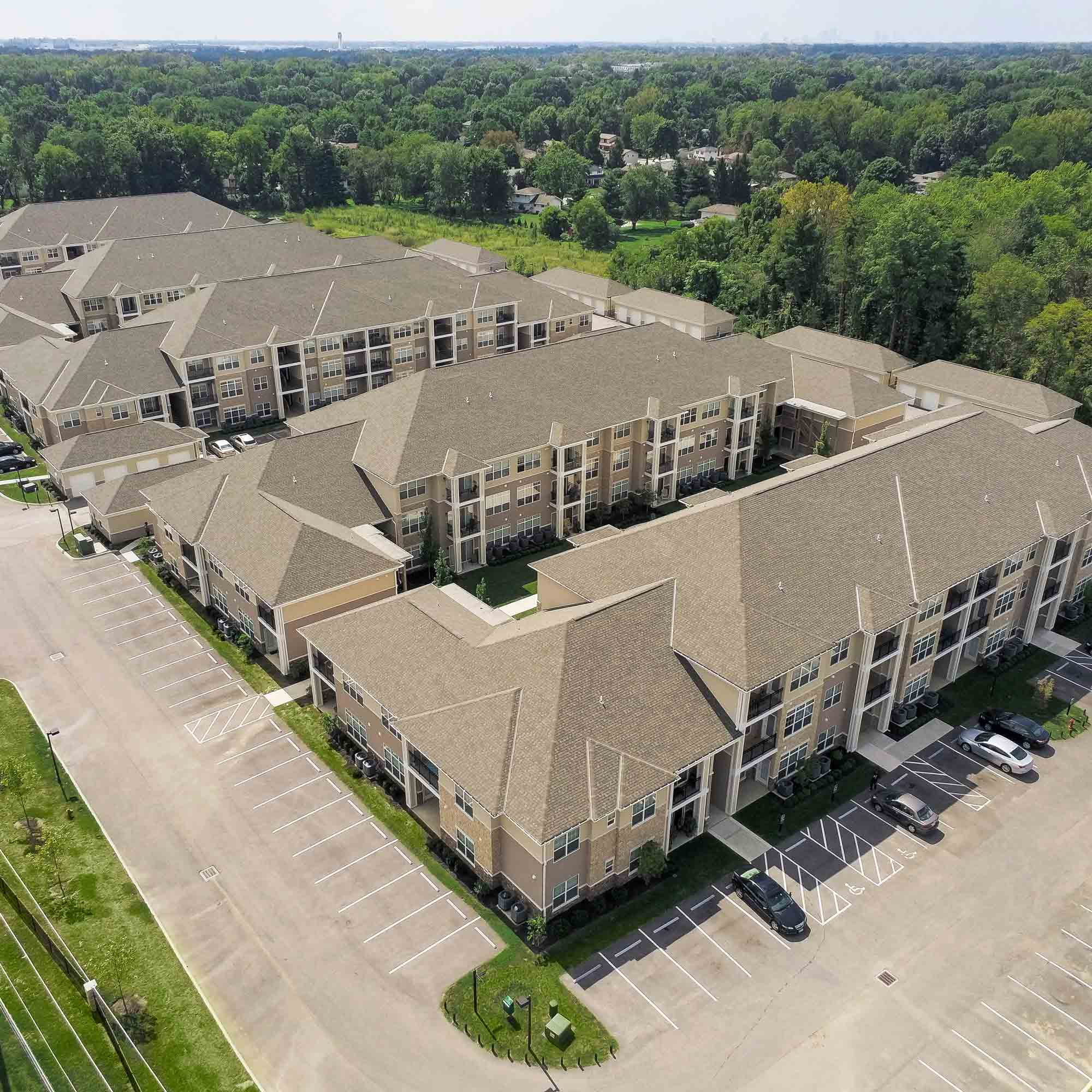 apartment complex aerial view
